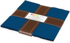 Robert Kaufman Ten Square 10 Inch Squares of Kona Cotton Fabric Prussian & Sn...