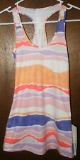 Lululemon NWT Cool Racerback Tank Top Stripe White Iris Flower Workout Shirt 2