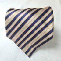 Stefano Ricci Silk Neck Tie Regimental Striped Blue, Silver, Gold 63L 4W