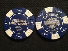"Harley Davidson Ball Marker Poker Chip (Blue & White) ""Nees H-D"" Galesburg, IL"