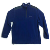 Vintage Nautica Competition Mens M Blue Fleece Pullover 1/4 Zip Embroidered Logo