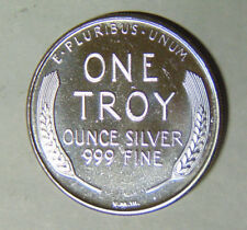 1990 Lincoln Wheat Cent .999 Fine Silver 1 oz Round Virg Marshall III (4718)