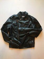 Women's Medium GUESS Leather Motorcycle Jacket Black Studded Grunge Bike Heavy