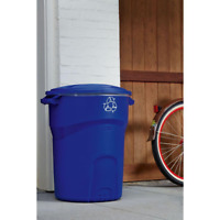 32 Gallon Outdoor Recycling Bin Heavy Duty Durable Curbside Detached Lid Round