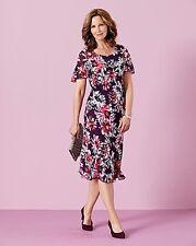 Jupila Bias Cut Chiffon Printed Dress Plum Size UK 14 rrp £45 DH078 HH 08