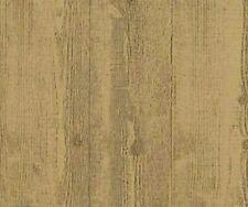 Embossed Textured Caramel Brown Wood Planks Unpasted Wallpaper HE1002