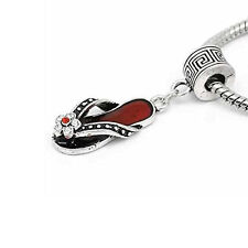 Flip Flop Red Sandal Shoe Charm W/Crystal European Bead Compatible for Snake Cha
