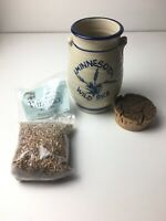 Blue & White Stoneware Minnesota Wild Rice Canister Pottery Crock 4oz Bag Rice