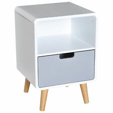 Scandinavian Style Bedside Table, 40Lx38Wx58H cm-White/Grey/Natural Wood