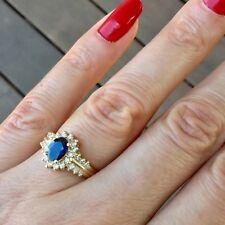 EFFY BH 14k Yellow Gold 1.25 CTW Sapphire and Diamond Halo Ring