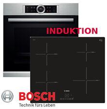 Bosch Herdset Induktion Elektro Autark Backofen Silber + Induktion Kochfeld 60cm