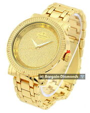 mens diamond gold tone clubbing ice out watch gold dial heavy bracelet maxx