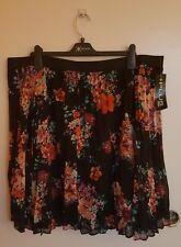 +Plus Moda *Brand Skirt Plus Size 3X 22W-24W Black w Multi Colored Flower Print