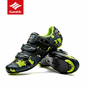 Santic Men Road Bike Cycling Camouflage Shoes Self-lock Riding Shoes Green 40 yd