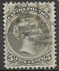 Canada 1868 5c olive green Large Queen Scott 26 super nice used stamp see scans
