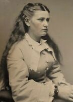 Stunning Antique Photo Long Haired Beauty Circa 1870 6th Plate Tintype Pretty