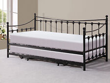 Memphis Black Metal Day Bed with Pull Out Trundle Bed
