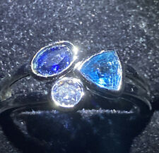 Gems. Silver Size L 1/2 Delicate Ring Clear Turquoise, Blue