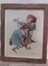 Knuckles Down Norman Rockwell 1972 Litho in Vintage frame by Curtis Publishing