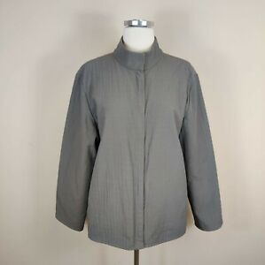 Eileen Fisher L Jacket Water Resistant Nylon Cotton Zip Up Gray Taupe Large