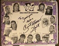 LOT OF 2 BRET HITMAN HART WWF WWE 1994 AUTOGRAPHED MATTE 8x10 SHEETS RARE