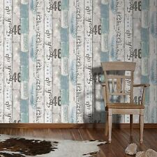 SURF WOOD PANEL WALLPAPER BLUE - AS CREATION 959503 NEW EMBOSSED