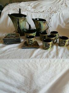 Stylized Vintage Handmade Painted Oriental Tea Set