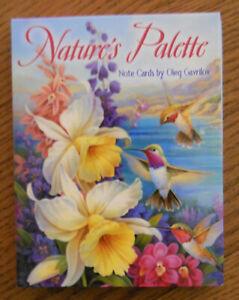 12 Box Set Leanin Tree Note Cards NATURE'S PALETTE, HUMMINGBIRDS & FLOWERS, USA