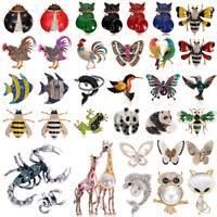 3D Animal Pearl Rhinestone Crystal Vintage Enamel Brooch Pin Brooches Fox Owl