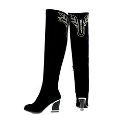 NEW Ladies Block Heels Knee High Boots Zipper Embroidery Party Warm Shoes Winter