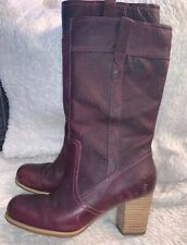 TIMBERLAND Women's 19688 Rudston  Pull On Leather High Boots Sz 11 Burgundy