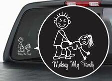 Funny STICK FIGURE FAMILY Vinyl Window Decal  Bumper Sticker Redneck Truck 4x4