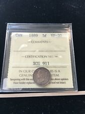 1889  ICCS Graded Canadian,  5 Cent **VF-30**