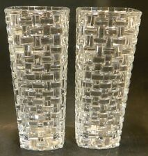 Set of (2) Nachtmann Dancing Stars Bossa Nova Leaded Crystal Vase Excellent Cond