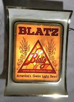 "Vintage BLATZ Lighted Beer Bar Advertising Sign ""America's Great Light Beer"""