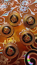 5x lot GIANNI VERSACE MEDUSA HEAD GOLD METAL BUTTONS 1inch D&G Faux leatherbox