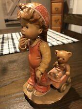 Anri Figurine Boy with Cart And Bear Signed #235/2000 Design Valentine