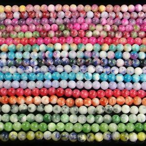 """multi color jade spacer beads DIY 4mm 6mm 8mm 10mm round stone 16"""""""