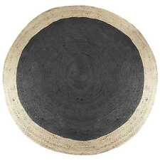 Round Jute Floor Rug - Natural Braided Flatweave Rug (200x200cm) Black