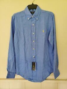 RALPH LAUREN classic fit medium 100% linen blue button down shirt NEW