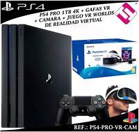 PACK PS4 PLAYSTATION 4 PRO 1TB 1 MANDO GAFAS VIRTUALES JUEGO VR CAMARA SONY LOTE