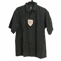 Alf Mens Large Button Front Shirt Blue Plaid Short Sleeve Wrinkle Free Shirt New