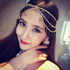 Women Tassel Leaf Crystal Metal Headband Chain Jewelry Head Piece Hair Band