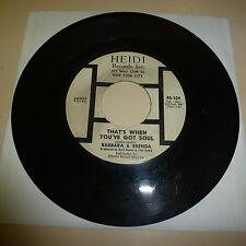 NORTHERN SOUL/FUNK 45RPM RECORD - BARBARA & BRENDA - HEIDI 104 - LISTEN