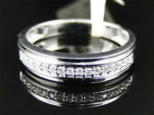 White Gold Womens Round Cut Diamond Pave Set Wedding band Ring 4MM 1/4 Ct