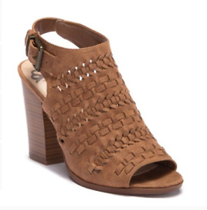 Fergalicious Braided Slingback Sandal Brown Bootie 9.5 M open toe ankle strap