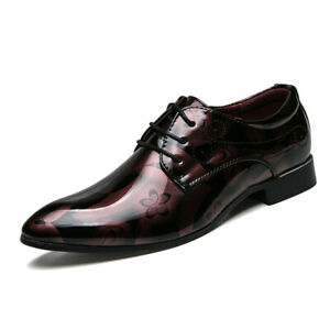 Mens Lace Up Pointy Toe Patent Leather Oxfords Formal Dress Wedding Shoes Pumps