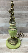 Heavy Green Marble Effect and Gold Coloured Cherub Design Lamp Base