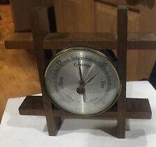 Rare Antique Barometer WEST GERMANY WOOD FRAME Tabletop Or Hang