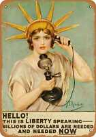 Metal Sign Lady Liberty Pleads for War Money Vintage Look Reproduction